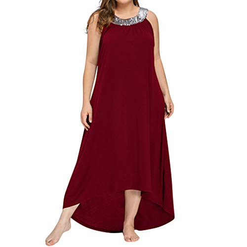 Botrong Long Maxi Dresses for Women, Women Plus Size Sleeveless Beads Collar Solid High Low Party Dress Red
