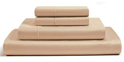 CHATEAU HOME COLLECTION 800-Thread-Count Egyptian Cotton Deep Pocket Sateen Weave Queen Sheet Set, Wheat ()