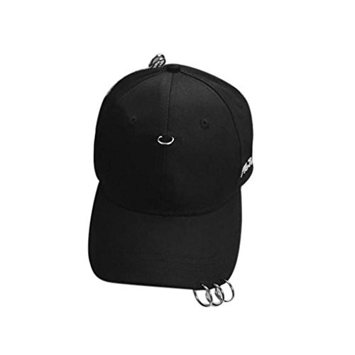 Oksale® Clip Ring Embroidery Cotton Unisex Snapback Hip Hop Hat Baseball Cap (Black)
