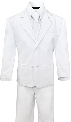 Boys Suit with Tie for toddlers and infants. (7, White)