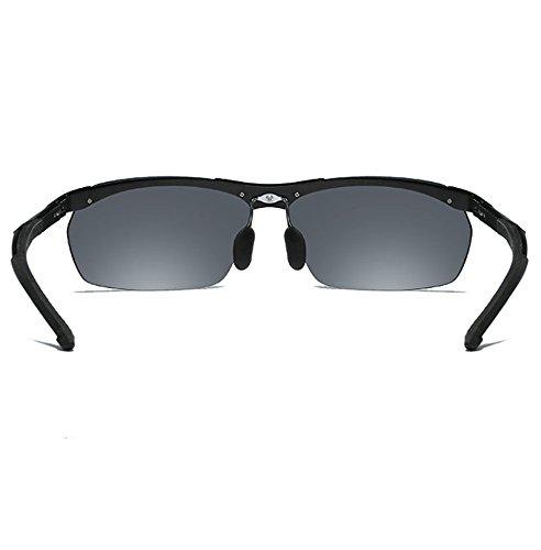 Conduite métal anti Homme Mg de Al 100 Lunettes Noir Sport Lunettes soleil de en UV400 Cadre Polarisées Sunglasses Weiqiao® fOwzgxqx