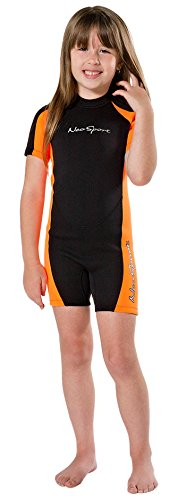 NeoSport Wetsuits Children's Premium Neoprene 2mm Shorty Wetsuit, Black/Orange, Size Two by Neo-Sport