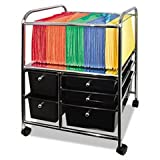 * Letter/Legal File Cart W/ 5 Storage Drawers, 15-1/4w x 21-7/8d x 28-7/8h, Black