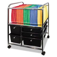 * Letter/Legal File Cart W/ 5 Storage Drawers, 15-1/4w x 21-7/8d x 28-7/8h, Black