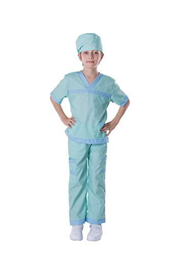 Dr. Scrubs Deluxe Kids Toddler Vet Costume Set in Green for Scrub's Pretend Play, Halloween Jr. Doctor Dress Up Party (Small (5-7yr))