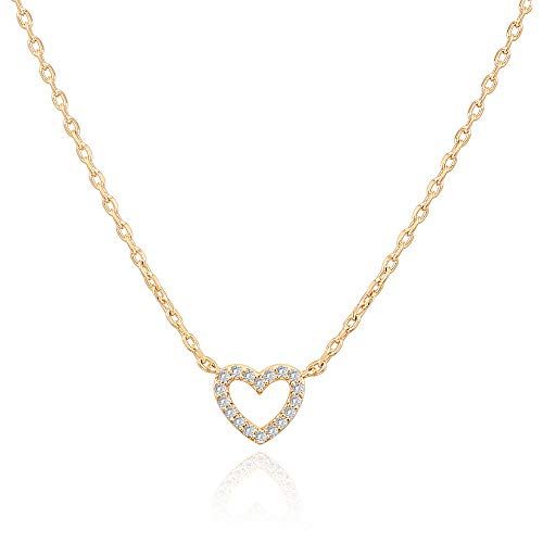 PAVOI 14K Gold Plated Cubic Zirconia Heart Necklace | Layered Necklaces | Yellow Gold Necklaces for Women