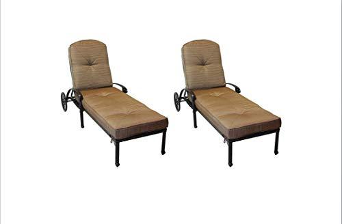 - Elizabeth Outdoor Patio 2 Single Chaise Lounges Cast Aluminum Dark Bronze, Walnut Color