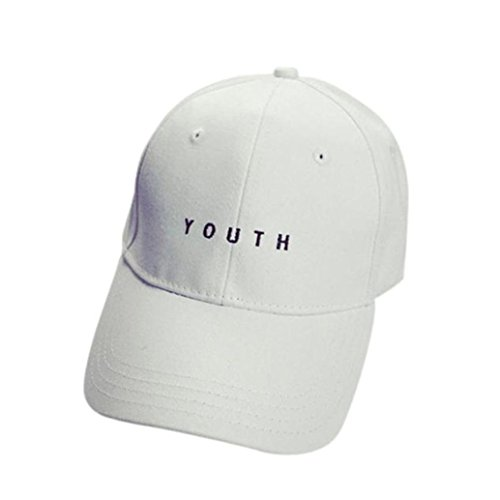 Challyhope Fashion Youth Letter Embroidery Cotton Baseball Cap Unisex Dad Hat Snapback Hip Hop Flat Hat (White)