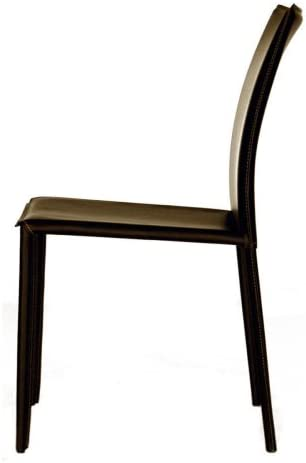 Baxton Studio Leather Dining Chair, Espresso Brown