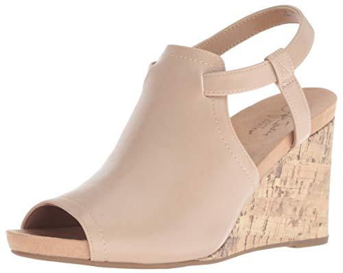LifeStride Women's Harlow Wedge Sandal, Taupe, 7.5 M - Slide Cork