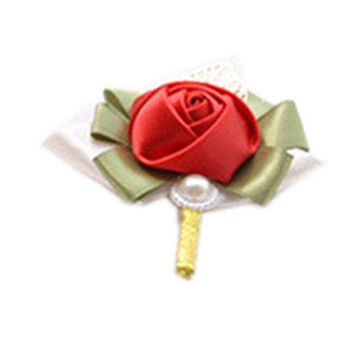 (Wedding Silk Rose Boutonniere Pin Corsage Brooch)