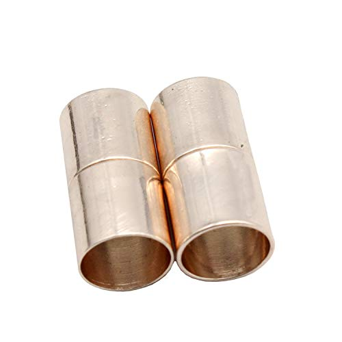 Pack 10 Magnetic Clasps and Closure 10mm Round Hole,Strong Magnet for Bracelet Making Fastener End (Rose Gold Cylinder) ()