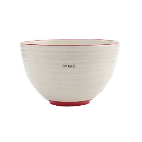FLOOR   9 Ceramic Bowl, Textured White with Red Accents, Large, Share