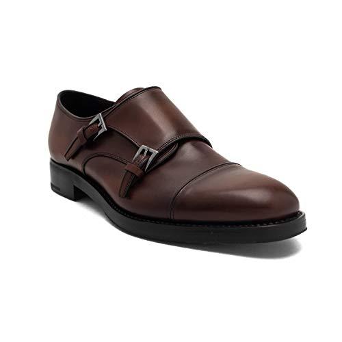 Prada Men's Leather Double Monk Strap Dress Shoes Brown
