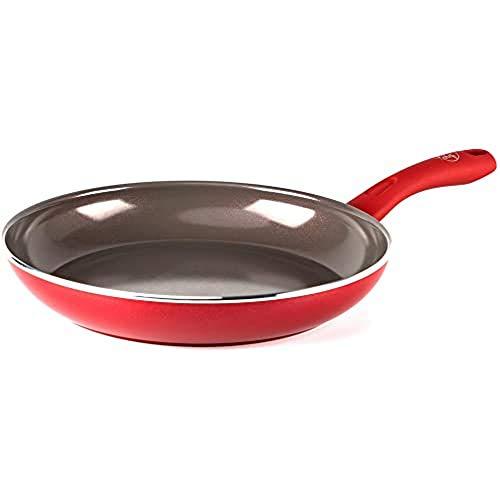 GreenChef Keramische Koekenpan 28 cm Rood |Geschikt voor inductie en vaatwasmachinebestendig |Gezonde antiaanbaklaag…