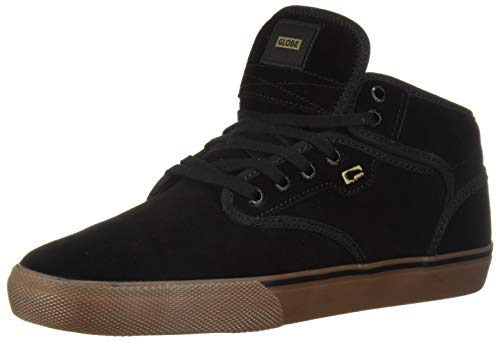 Globe Men's Motley Mid Skate Shoe, black/black/tobacco, 12 M US