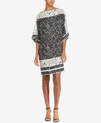 20de72022a31c Ralph Lauren Womens Navy Geometric Kimono Sleeve Boat Neck Above The Knee  Shift Party Dress Size: 10: Amazon.co.uk: Clothing
