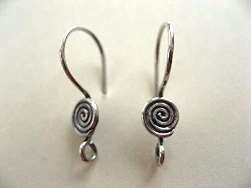 3 Pair Bali Sterling Silver Swirl Earwires 20mm ()