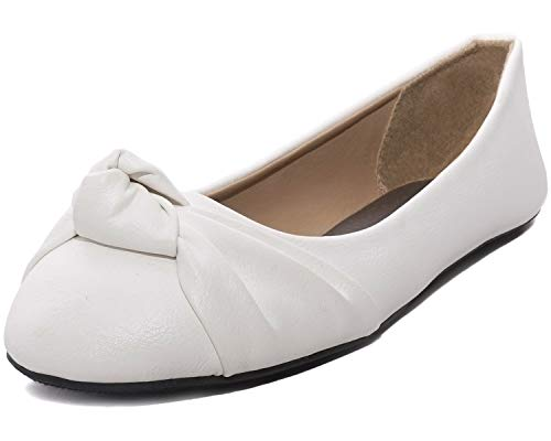 Charles Albert Women's Knotted Front Loafer Leather Round Toe Ballet Flats (8, White PU) ()