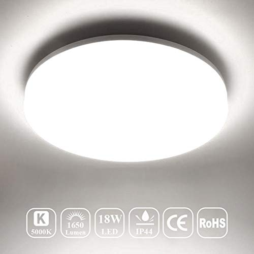 - Airand 5000K LED Ceiling Light Flush Mount 18W 1650LM Round LED Ceiling Lamp for Kitchen, Bedroom, Bathroom, Hallway, Stairwell, 9.5'', Waterproof IP44, 80Ra, 150W Equivalent (Daylight White)
