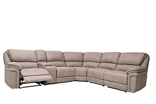 Blackjack Furniture 7098-BEIGE-SECT Austin Modern Upholstered Power Reclining Sectional, 114
