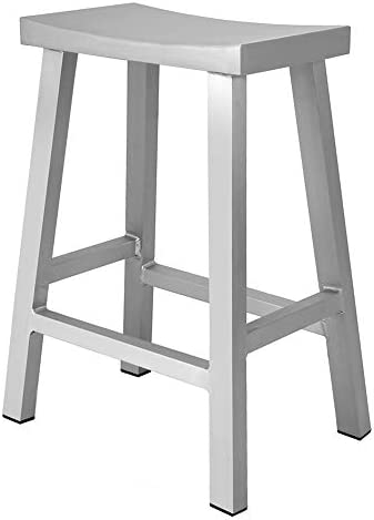 Renovoo Aluminum Saddle Seat Counter Stool, Commercial Quality, Brushed Aluminum Finish, 24 inches Seat Height, Indoor Outdoor Use, 1 Pack