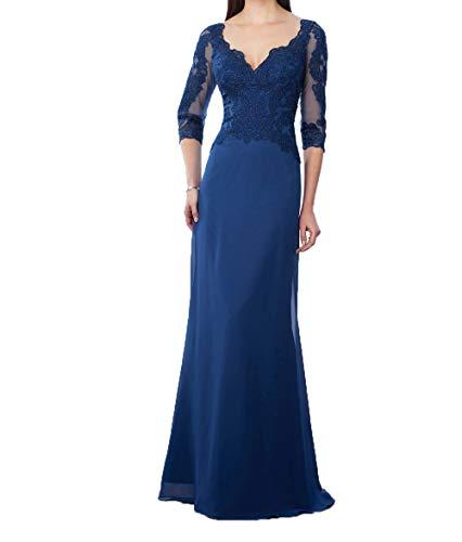 2018 mit Abendkleider Lang Spitze Damen Festkleider Charmant Formalkleider Blau Royal Mutterkleider Langarm xtFY5HHUwq