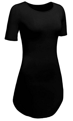 Women's Round Neck Casual Side Slits Long Tops (Black) - 8