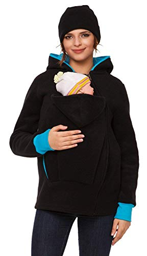 (Womens Maternity Fleece Hoodie Duo Top Carrier Baby Holder. 032p Black)