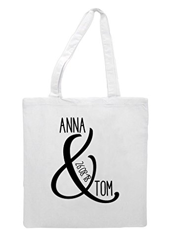 Ampersand Wedding Tote Shopper And Party Personalised Gift Engagement Bag White Names HqOZrBH