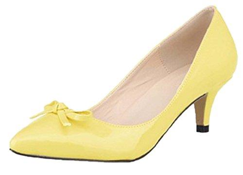 HooH Women's Pointed Toe Sweet Bowknot Kitten Pumps-Yellow-41