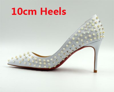 Fashion Classical Women Heels Pointed Thin VIVIOO Party Rivets Lady Heels High Shallow Toe Party Shoes Spike Studs Shoes white 10cm High 6qw44v5Ox