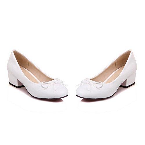 BalaMasa Womens Bows Chunky Heels Low-Cut Uppers Urethane Pumps-Shoes White oEblQX