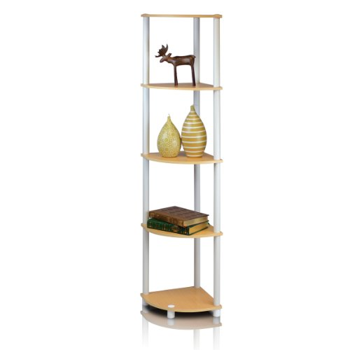 Furinno 99811BE/WH Turn-n-Tube 5-Tier Corner Shelf, Beech/White