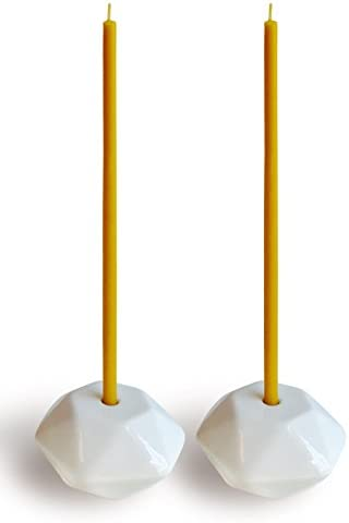 Votprof Set of 2 Small White Ceramic Candleholders Slim Taper Candles, Durable, Modern Design