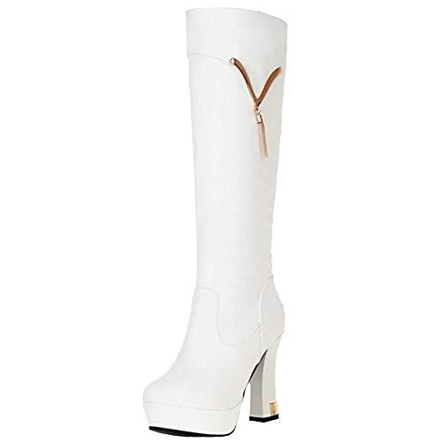 Vulusvalas à la bottes femmes blanches mode talons Bottes à chaudes pour hauts et 4w1q4U