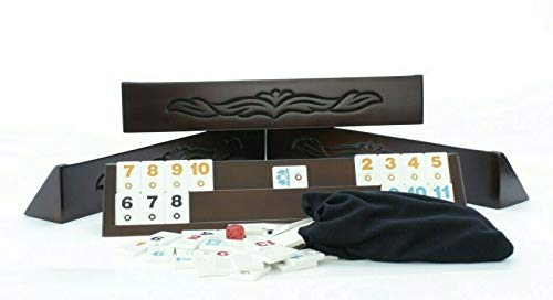 - Beautiful Motifs Wooden Rummy Cube - Hand Carved Rummikub Board Game Set - Gift for Mom