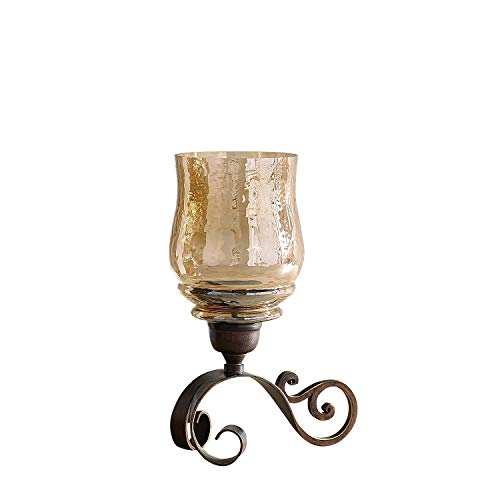 Pier 1 Imports 11'' Tall Sundara Scroll Amber Luster Hurricane Pillar Candle Holder by Pier 1 Imports