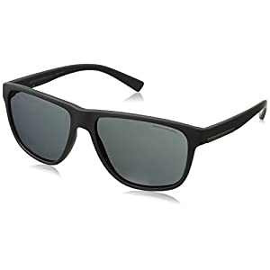 Armani Exchange Men's Injected Man Rectangular Sunglasses, Matte Grey, 58 mm
