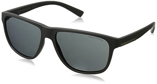 Armani Exchange Men's Injected Man Rectangular Sunglasses, Matte Grey, 58 mm