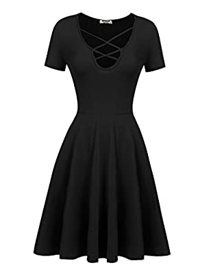 Hotouch Womens A Line Short Sleeve Crisscross Front Flared Casual Knee Length Dresses