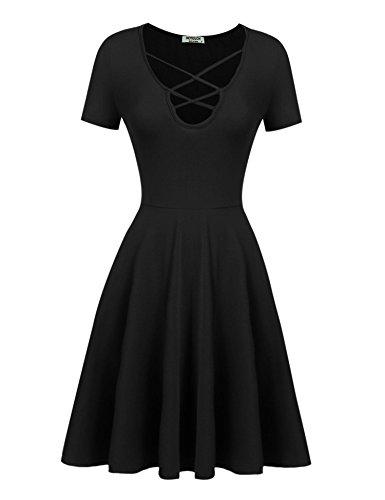 Dress Figure Skater T-shirts (HOTOUCH Women's Summer Short Sleeve Loose Tunic Casual T-shirt Dress Blackl XL)