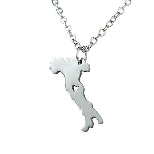 M&T 2015 Silver Tone Stainless Steel Map Pendant Necklace, We Love Italy, Italy