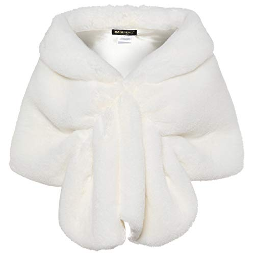 BABEYOND Womens Faux Fur Collar Shawl Faux Fur Scarf Wrap Evening Cape for Winter Coat (White, Large)]()