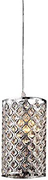 DINGGU Chrome Finish Flush Mounted Modern Cylinder Crystal Pendant Lighting for Kitchen Table
