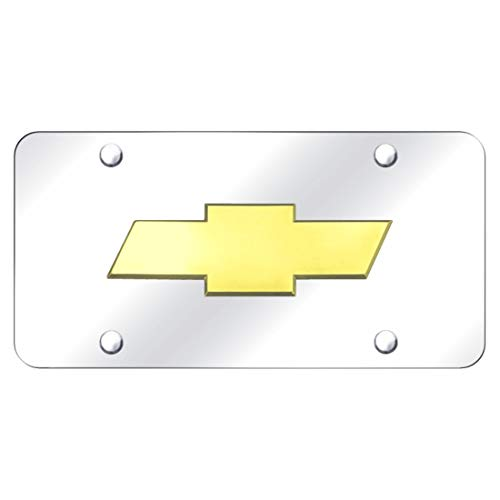 - Chevrolet Front License Plate Frame Bowtie Gold logo on Mirror Stainless Steel - Genuine Product