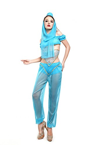 Moonight Princess Jasmine Genie Belly Dancer Arabian Nights Fancy Dress Costume Outfit Set (XL, (2)