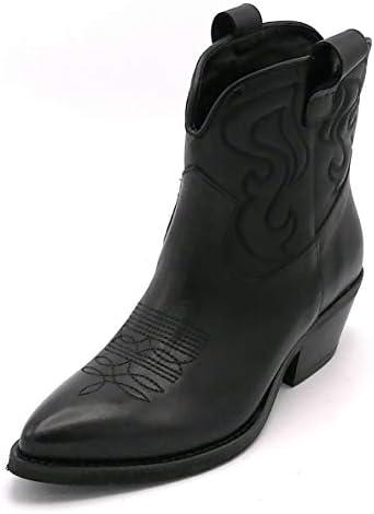 Ovye SO040 - Bota textil de piel negra bordada inglesa con tacón 4 cm Iw - Talla de zapato 37 EU color negro mq7sDJng