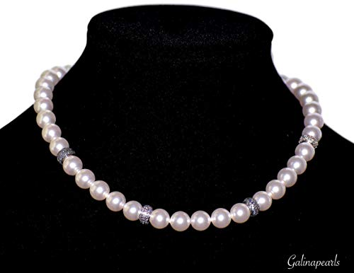 SWAROVSKI Crystal White Pearl Necklace For Women AAA-Quality Silver Plated Cubic Zirconia Spacer 925 Sterling Silver Clasp.