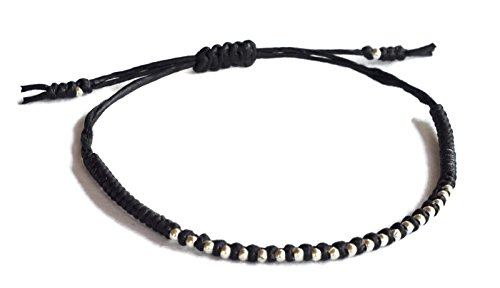 925 Silver Thai Bracelet - Thai bracelet 925 Sterling Silver Bracelet fashion made by KAREN hill tribe Black wax cord